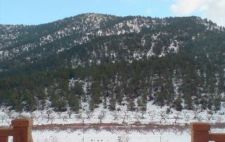 Vista de montañas nevadas desde el alojamiento